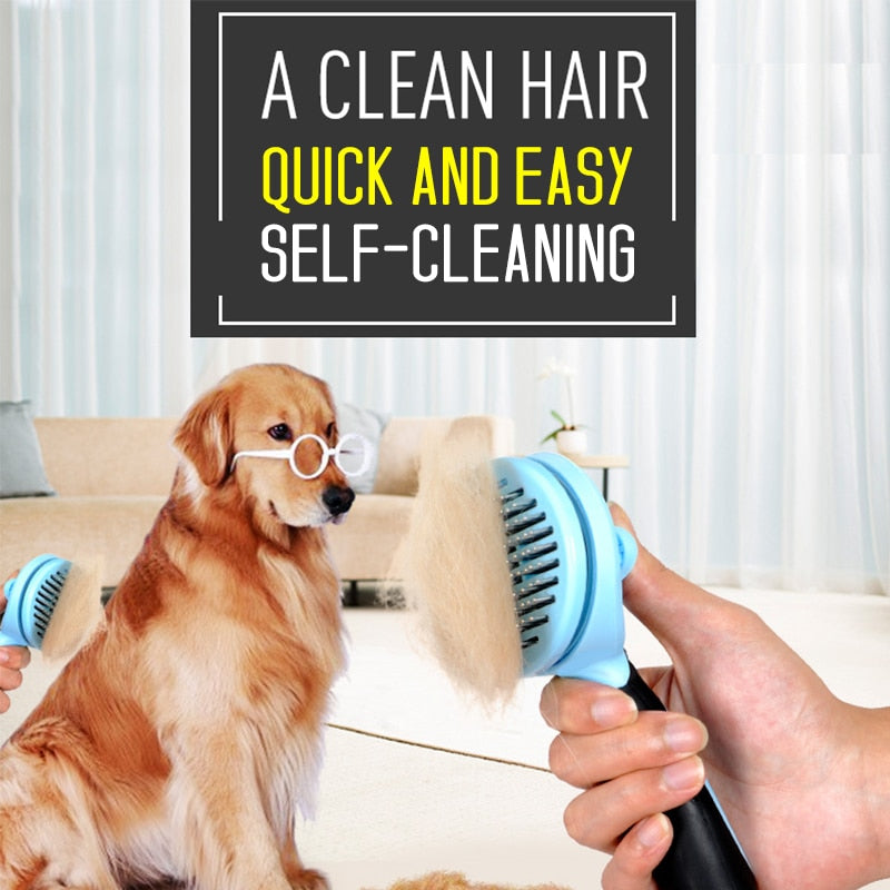 Pet Brush Easy To Use Self Clean Professional Dog Cat Hair Comb Soft Handle Pet Fur Remover Hair Trimmer Pet Grooming Product