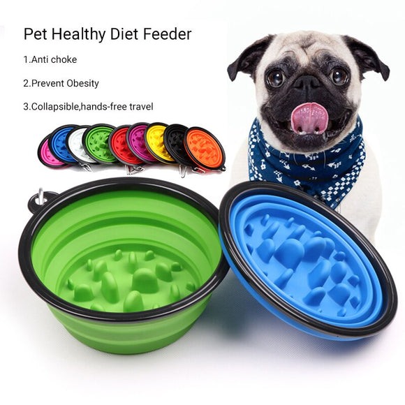 Collapsible Sillicone Pet Slow Feeder Anti Choke Prevent Obesity Healthy Diet Feed Dish For Dog Cat Outdoors Travel Water Bowl