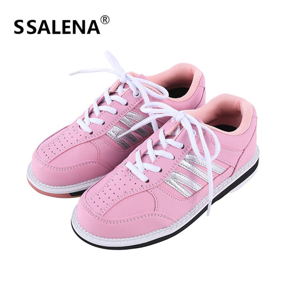 Women Professional Bowling Shoes Anti-Skid Breathable Sport Sneakers Leather Comfortable Reflective Training Shoes AA11035