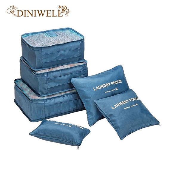 DINIWELL Brand 6 PCS Set Storage Bags Travel Tidy Bags Handbags House Wardrobe Clothing Sort Organizer Bags