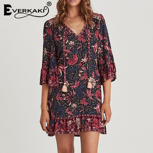 Everkaki Woman Simple Cotton Dress Floral Overlay Print Dress Female Tassel Sashes Vintage Flare Sleeve Loose Mini Dress 2020