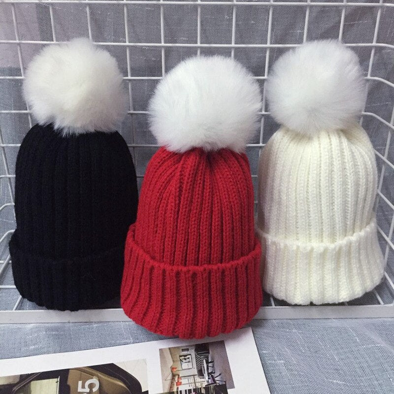 Winer hat Baby Boys Girls Pom Poms Hat Children Winter Hat For Girls Knitted Beanies Thick Baby Hat Faux fur Toddler Warm Cap