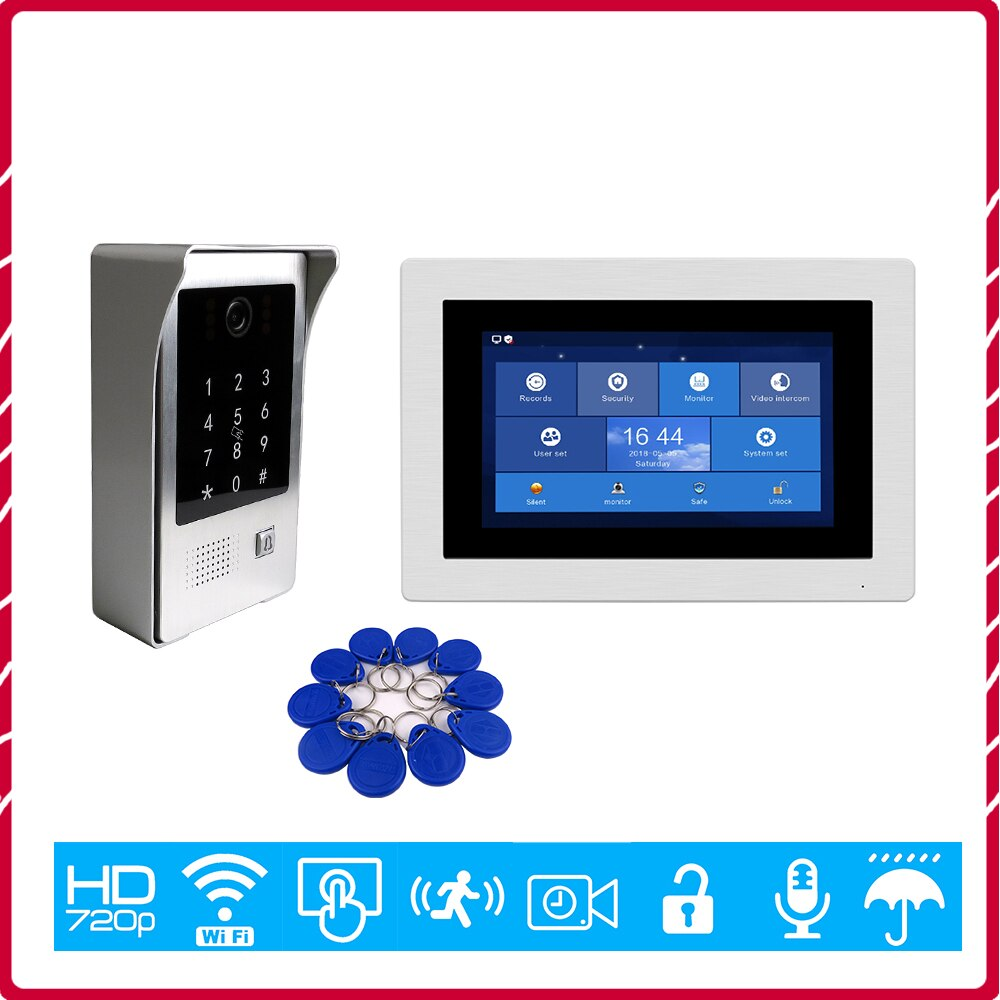 "Free Shipping 720P WIFI IP 7"" Touch Screen Video Intercom Door Phone Recording Kit Phone Remote Monitor Code Keypad RFID Camera"