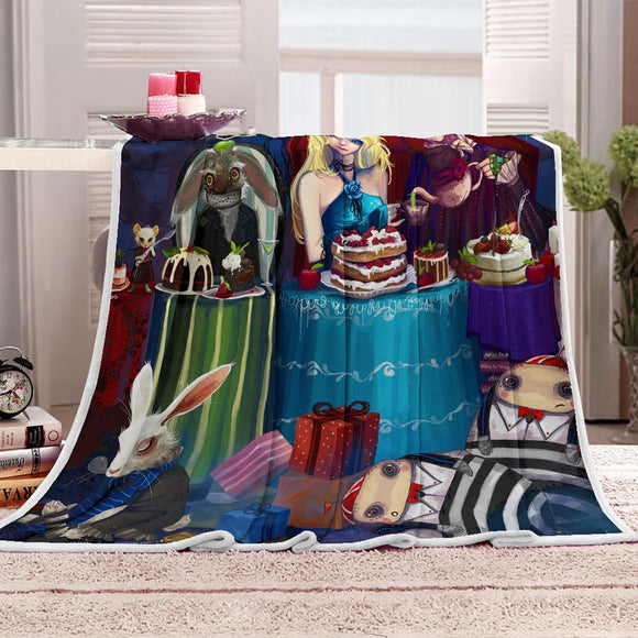 Cartoon Alice in Wonderland Cat Blanket Child Mat Tapestry Soft Wall Bedspread Travel Home Picnic Mat Blanket Table Beach Towel