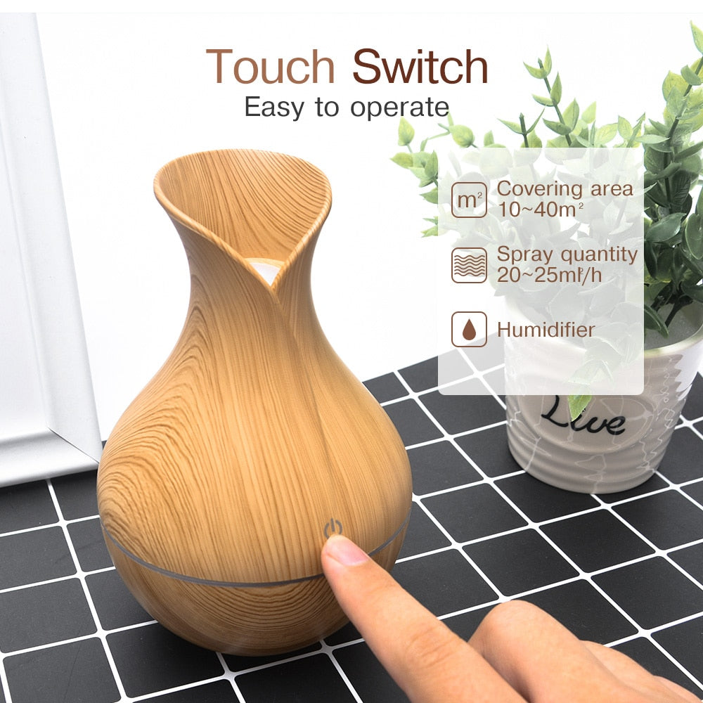 Mini Electric Air Humidifier Ultrasonic Aroma Essential Oil Diffuser Wood Grain Cool Mist Maker LED Light Usb For Home Office