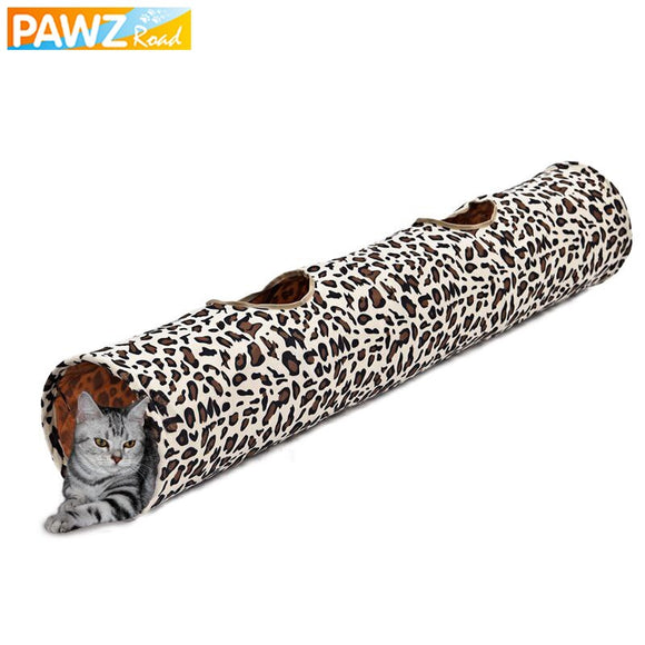 Pet 2 Holes Leopard Fun Playing Tunnel Cat Rabbit Collapsible Bulk Tunnel Dog Collapsible Toys Kitten Pet Long With Ball Tunnel