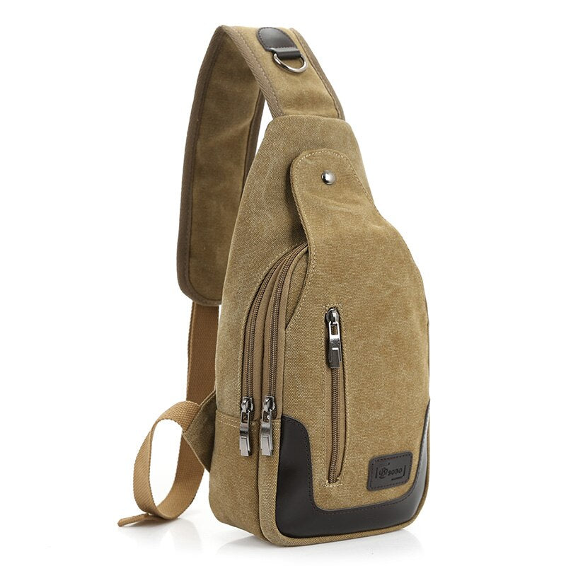 New Sling Man Bag Canvas Chest Pack Men Messenger Bags Casual Travel Fanny Flap Male Small Retro Shoulder Bag