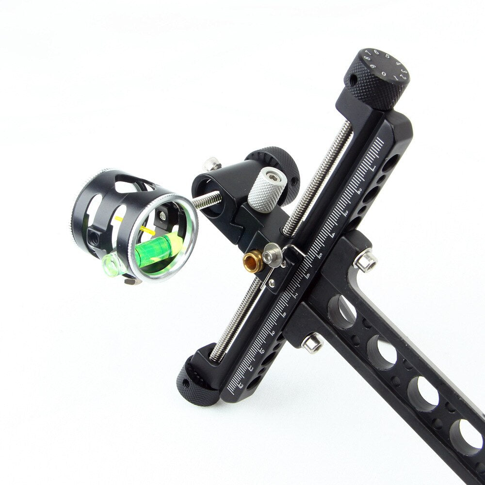 "Professional 1 Pin 0.059"" Compound Bow Sight with Micro Adjust Long Pole for Hunting Shooting Archery Bow"