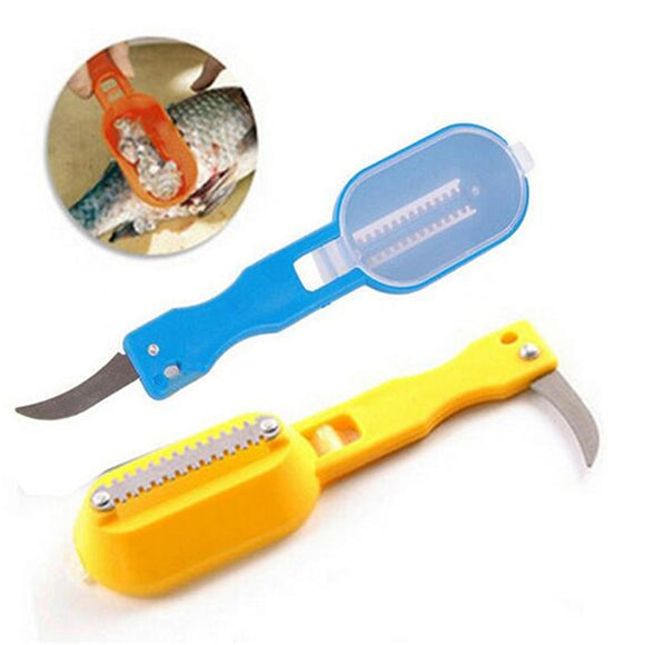 1Pc Knife Skinner Seafood Tool Kitchen Accessories Stainless Steel Fish Scale Remover With Lid Cleaning Fish Skin Scaling