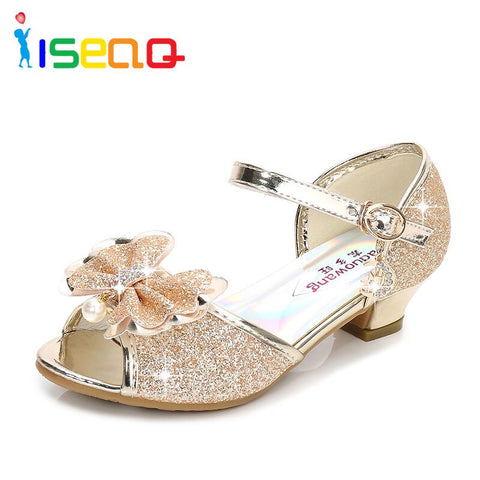 CYBLING Girls Metallic Sandals Toddler Little Girls Low Medium Heel Dress Sandal Shoes