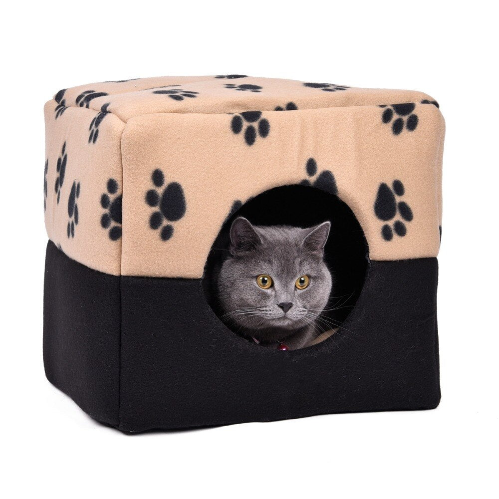 Dog Cat Bed Paws Pattern Pet Kennel Multifunction Animal House Puppy Living Sofa/Bed/Kennel 3 Using Ways Breathable Cute Style