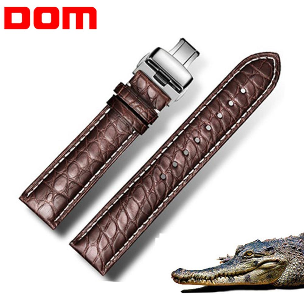 DOM Real Alligator Watch Strap Genuine Leather Watch Bands For Men and Women Watch Accessories 22mm 18mm 20mm24mm 16mm