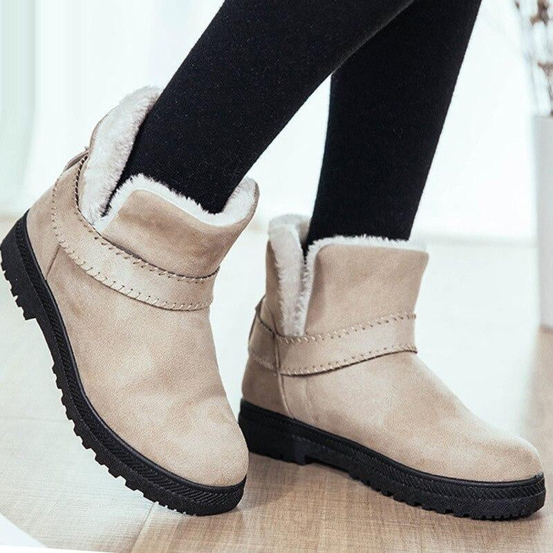 Ankle boots for women suede shoes plus size 35-44 2019 fashion style plush slip-on winter boots zapatos mujer Warm shoes woman