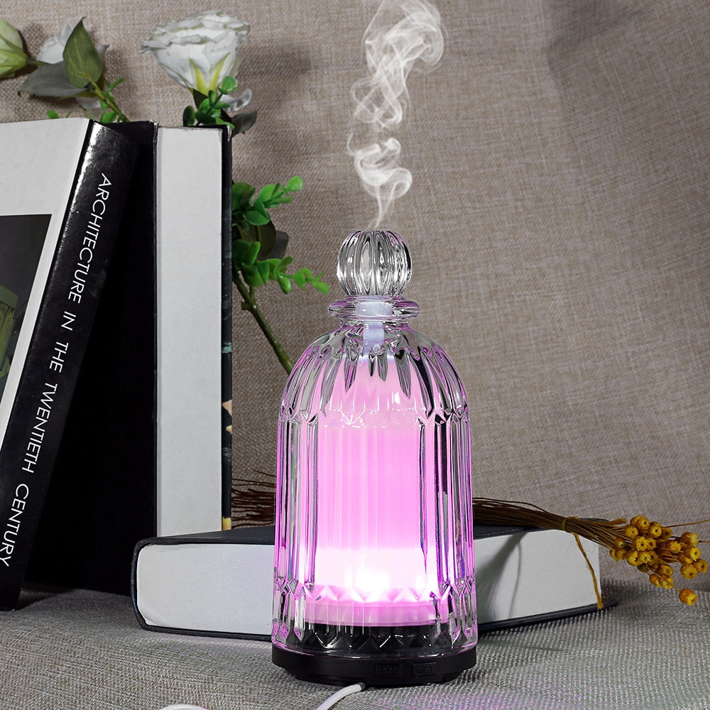 Fimei 120ml Air Humidifier Essential Oil Diffuser Aroma Lamp Aromatherapy Electric Glass Aroma Diffuser LED Night Light For Home