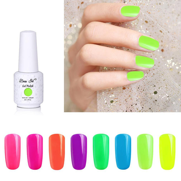 Beau Gel 8ml Fluorescent Neon Gel Nail Polish Nail Art Vernis Semi Permanant UV Gel Varnish Soak Off Nails Gel Polish Lacquer