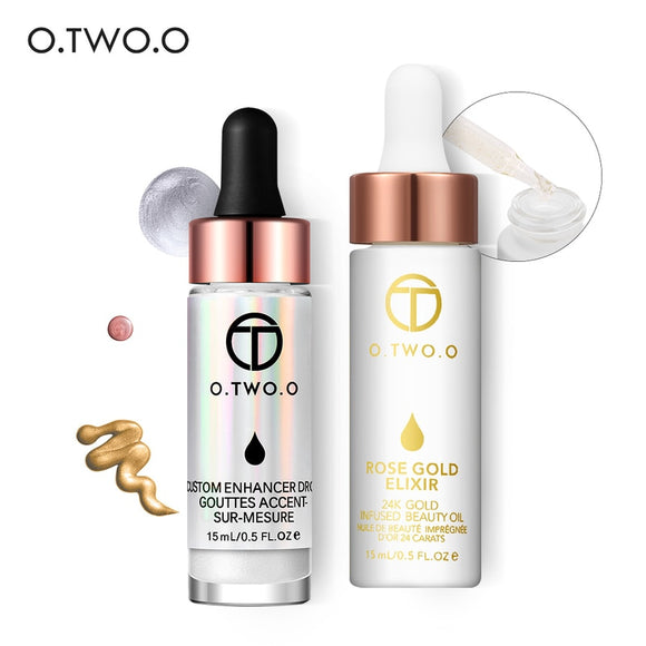 O.TWO.O Makeup Sets Liquid Highlighter & 24k Gold Infused Beauty Oil Make Up Highlighter Liquid Anti-aging Face Essential Oil