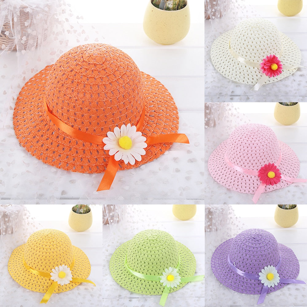 New 9 Colors Children's Sun Flower Straw Hat Beach Hats Kids Baby Photography Sunscreen Visor Cap Girl Boy Dress Accessories