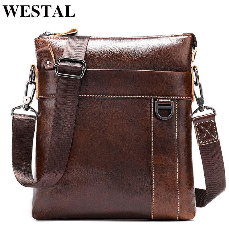 WESTAL Mens Messenger Bag Male Genuine Leather Shoulder Bags for Men Flap Casual Messenger Crossbody Bags Leather Man Bags 9010