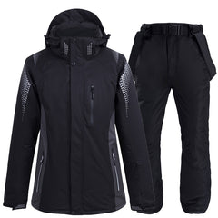 Plus Size Jacket and Pant Men Snow Clothing Outdoor Sports Special Snowboarding Gear Windproof Waterproof Ski Suit Sets Black