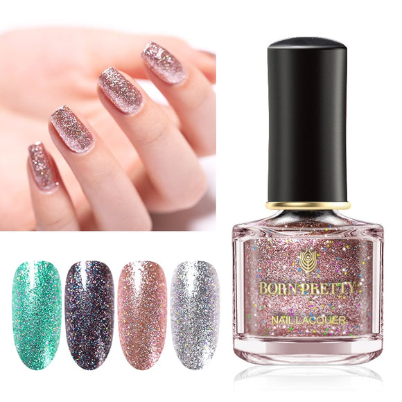 BORN PRETTY 6ml Nail Polish Glitter  Shiny Metallic Polish Shiny Flakies Sequins  Nail Art varnish Varnish