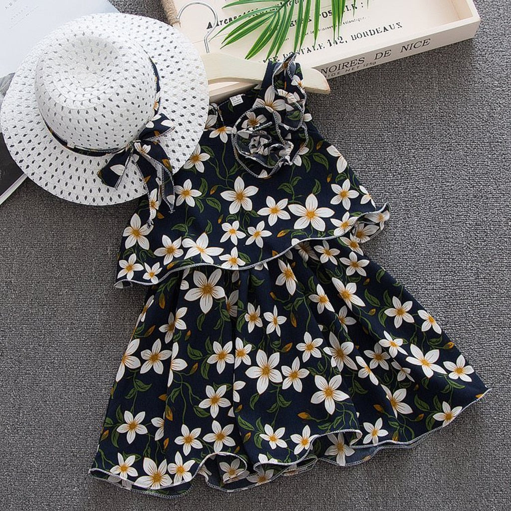 2PCS Princess dress summer Toddler Baby Kids Girls Sleeveless Flowers Princess Dresses Bow Hat Outfits girl clothes HOOLER