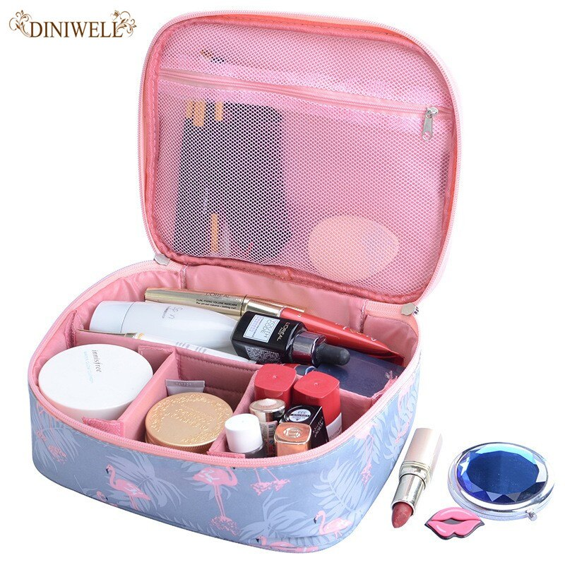 Fashionable female Flamingo Waterproof Cosmetic Bag Organizer Toilet Set Large Capacity Portable Cosmetic Bag Travel Essentials