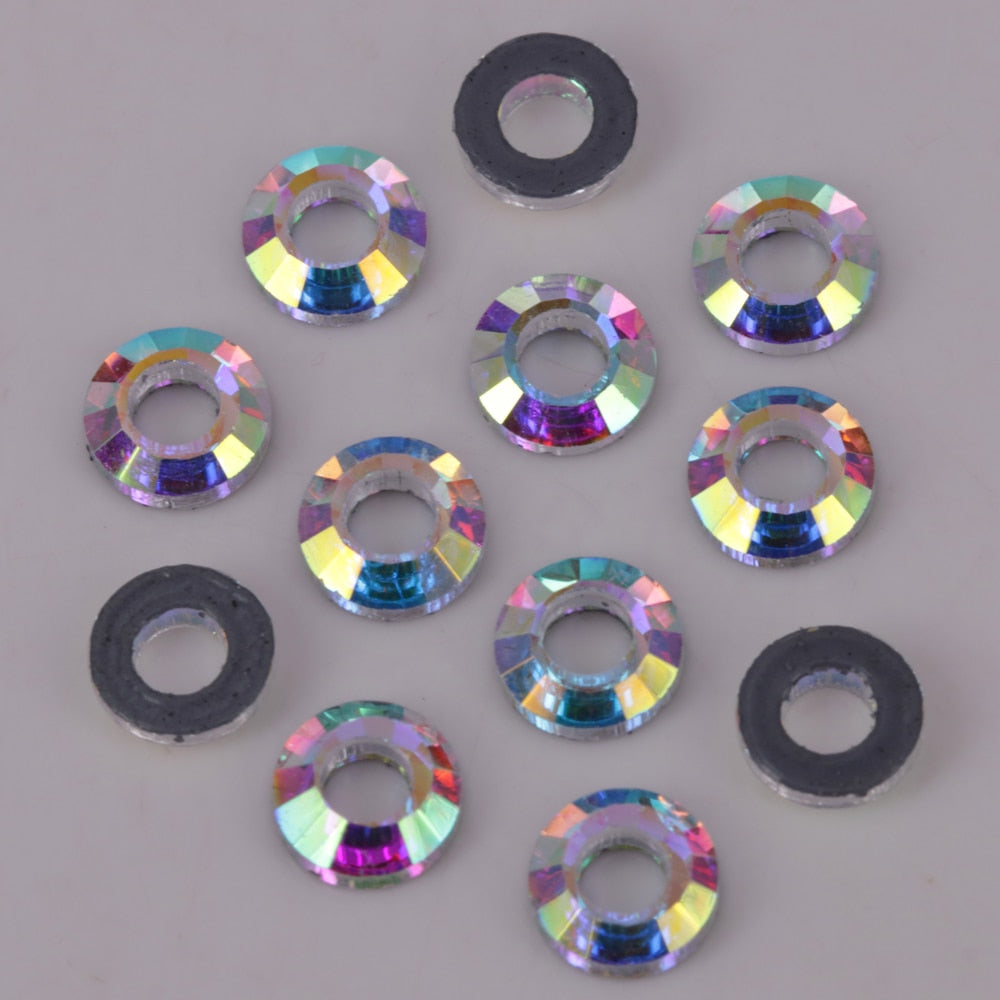 AAA Quality 6mm, 8mm Crystal AB Cosmic Ring Flat Back Hotfix Rhinestones / Iron On Flat Back Crystals