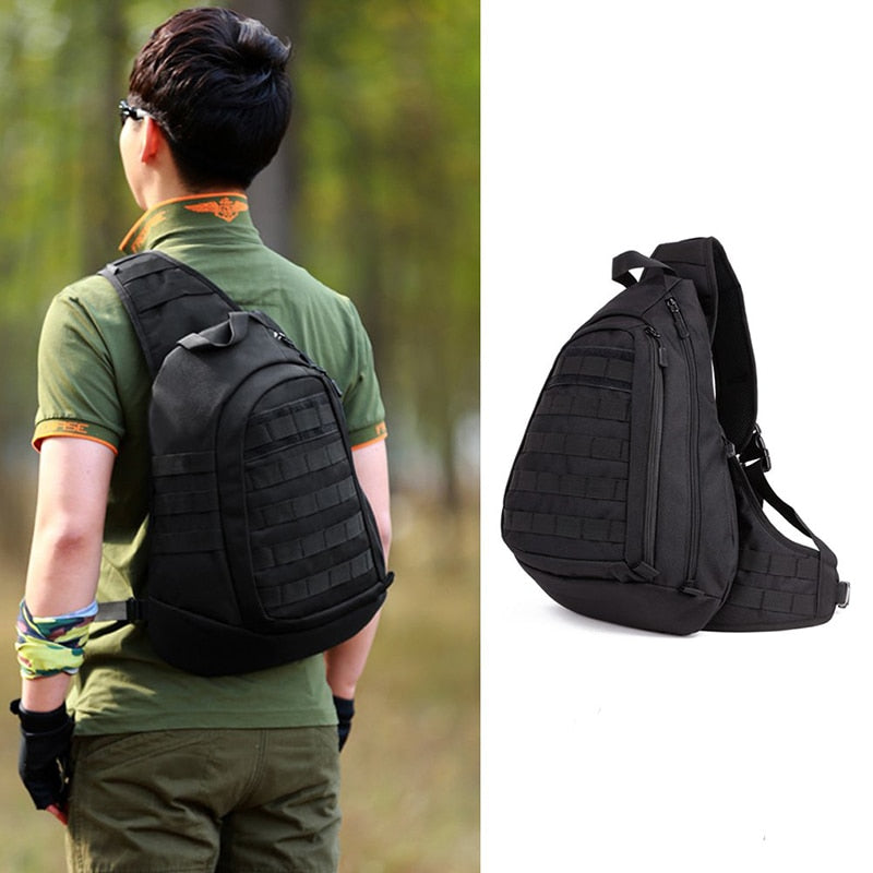 Large Travel Backpack Bag Field Tactical Chest Sling Pack Outdoor Sport One Single Shoulder Man