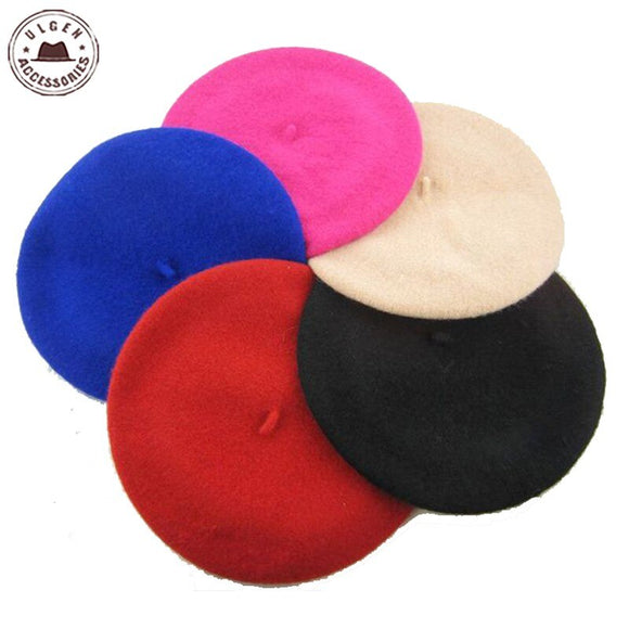 Fashion Rainbow New Children Wool Beret Kids Baby Girls Beanies Winter Hat Beret Ivy Cap