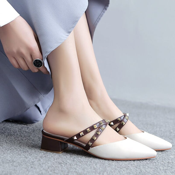 2119 Spring Pointed Toe Rivet Yellow Beige Women Mules Slippers Flats Slip-ons Loafers Woman Casual Shoes 11811ABX2179