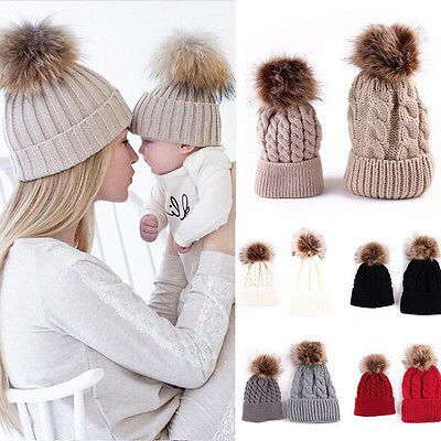2 Pcs Mother Child Baby Kids Warm Winter Knit Beanie Fur Pom Hat Crochet Ski Cap