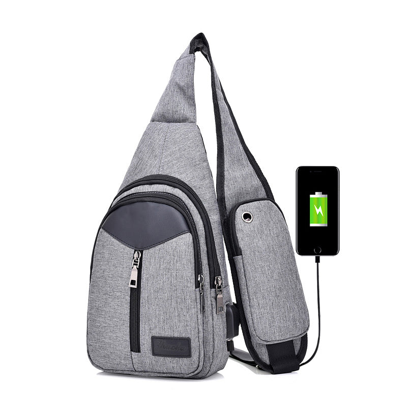 Men Canvas Crossbody Bags For Women Chest Bag USB Smart Anti Theft Shoulder Messenger Phone Bag