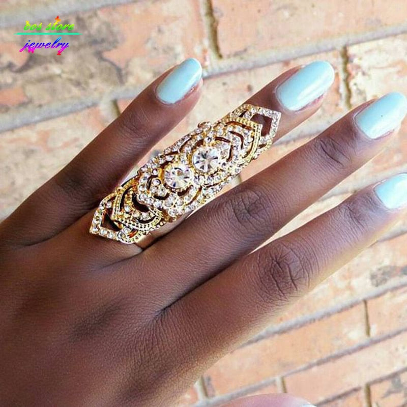 Unique !Top Quality Genuine Gold Filled Crystals Sheild Resizable Full Finger Rings For Women Statement Armor Ring Bague