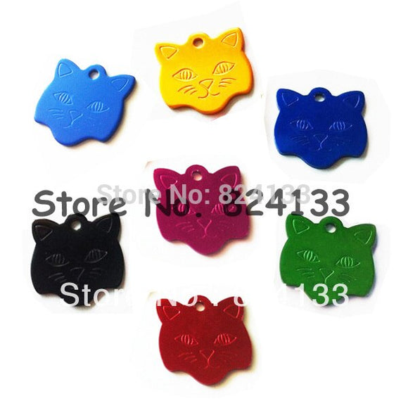 cat face shaped pet id name tags anodized aluminum dog tag pendant,dhl/fedex free shipping tags for pet cat