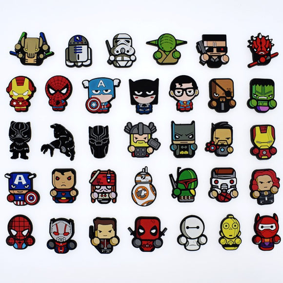 100Pcs Cartoon The Avengers Heros Star Wars PVC Flatback DIY Phone Case Bracelets Badges Gadgets Anime Charms Kids Gift