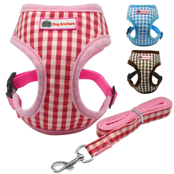 Pet Dog Cat Harness Leash Set Cat Soft Breathable Mesh Plaid Vest Harness For Small Medium Cats Dogs Chihuahua