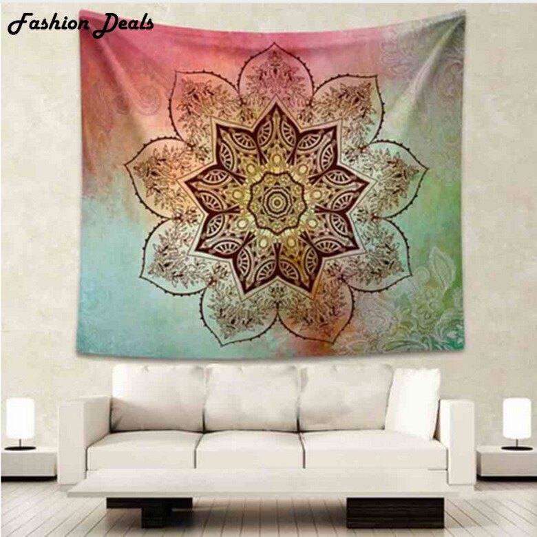 Indian Mandala Tapestry Red Green Lotus Hippie Wall Art Tapestry Boho Bedspread Beach Towel Yoga Mats Bed Blanket Table Cloth