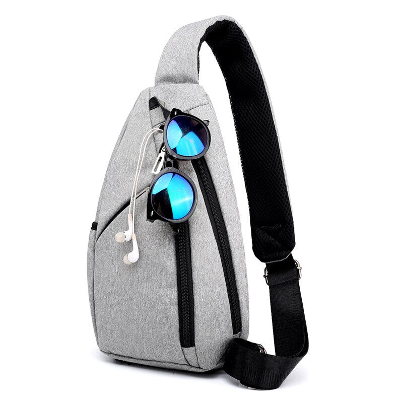 Fashion Crossbody Bags For Men 2020 Gray Travel Messenger Bag headphone jack casual chest Sling pack for men High Capacity New