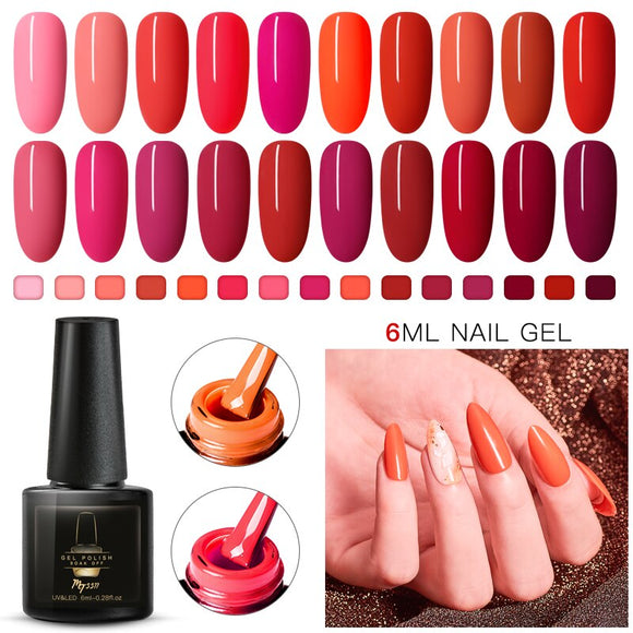 Mtssii Red Color Gel Polish Long Lasting Gel Nail Polish Soak Off UV LED Gel Varnishes DIY Nail Art Design Polish Gel