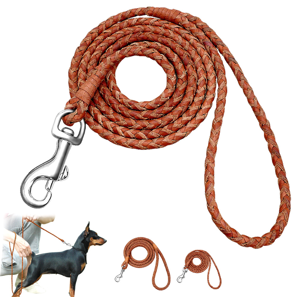 Small Dogs Leash Braided Leather Dog Puppy Leash Rolled Cat Pet Leads 4ft Long for French Bulldog Beagle Walking Training