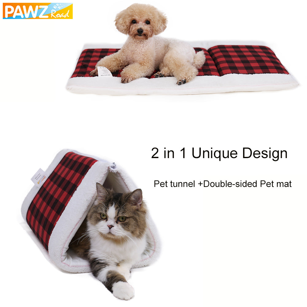 2 in 1 Pet Bed Mat For Dog Cat New Design Multi-functional Funny Pet Cat Tunnel Winter Warm Double-sided Cats Dogs Kennel House
