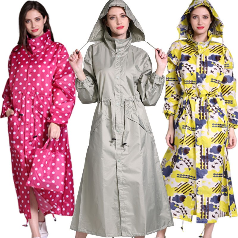 The New Women Raincoat and Waterproof Hooded Polyester Rain Jacket fashion Poncho Outside hiking Rainwear and Women rain coat