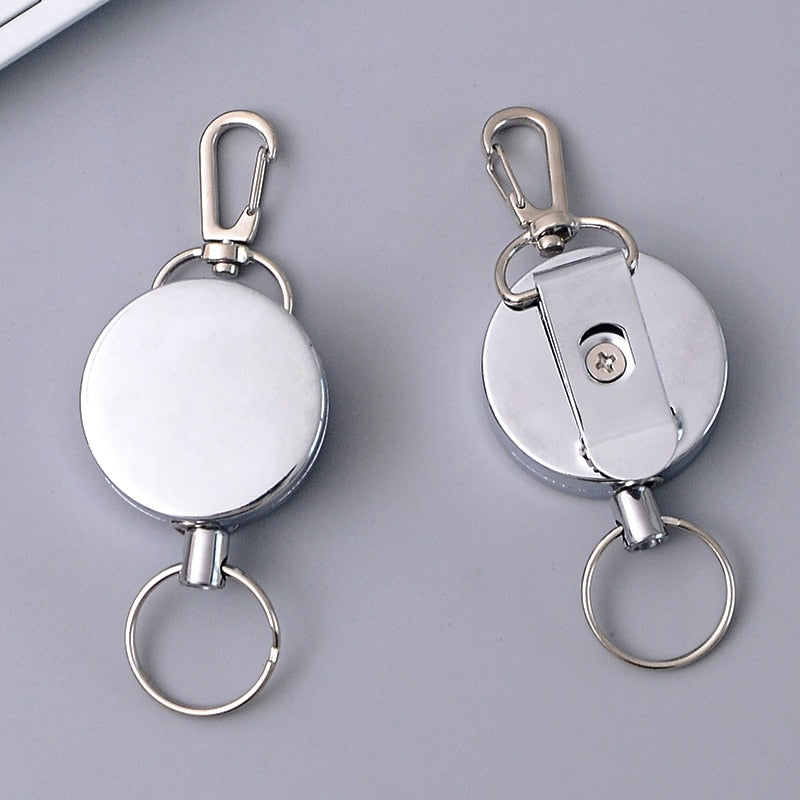 2020 Retractable Key Ring ID Badge Metal Lanyard Name Tag Card Holder Recoil Reel Belt Clip School Office Supplies High Quality
