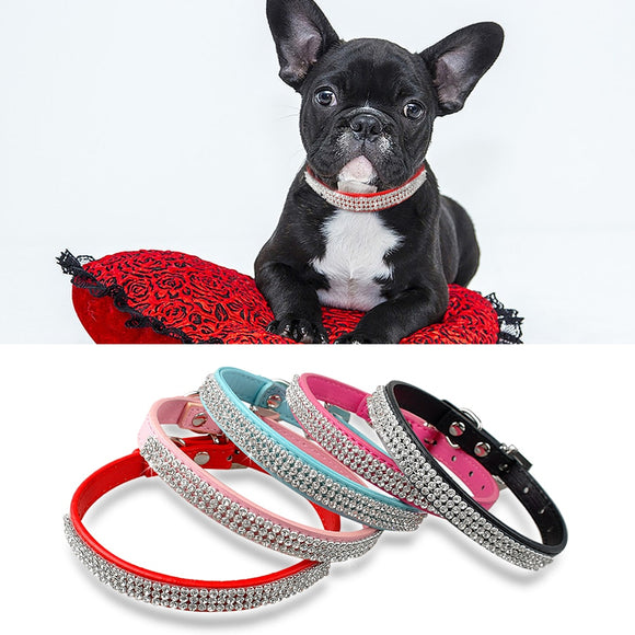 Rhinestone Dog Cat Collar Leather Small Pet Puppy Necklace Pet Collars for Small Dogs Cat Necklace French Bulldog Pink Color XS