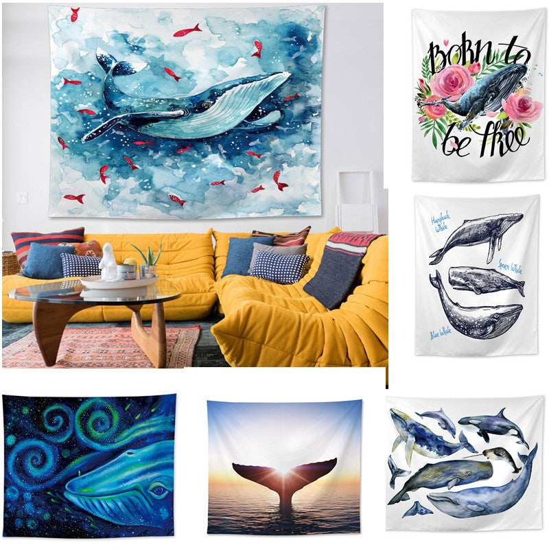 WHALE SEA TAPESTRY POLYESTER BOHEMIA BEDSPEAD BEACH TOWEL MAT DECO WALL HANGING