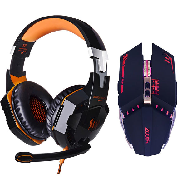 EACH G2000 LED Headphone Deep Bass Stereo Headset with microphone Professional Gamer+Optical USB wired Mouse Game Mice DPI gift