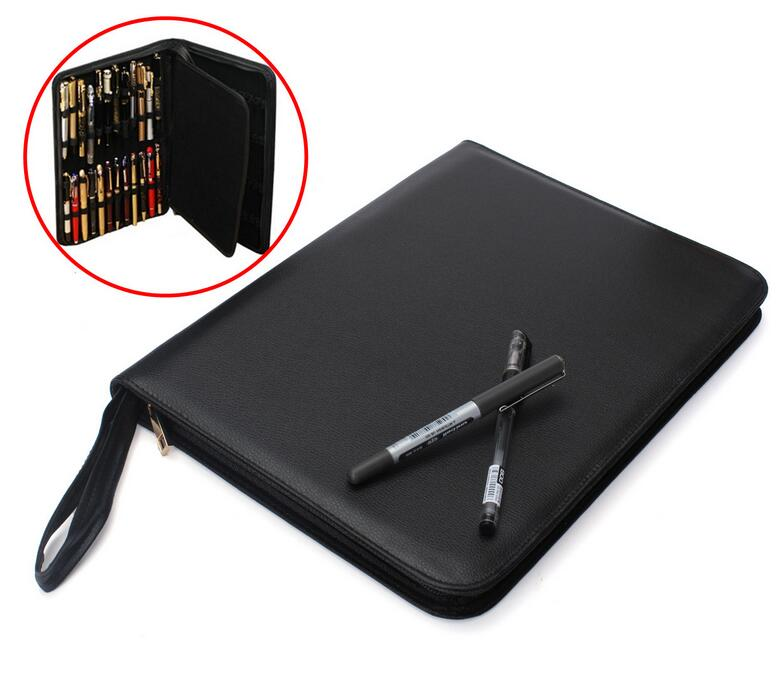 Luxury leather bag hold for 48 pcs pens,or 12 pens option,smooth  zipper special design pen case/pouch