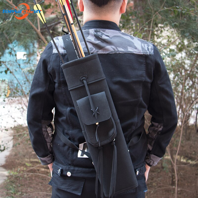 Black Handmade Cow Leather Archery Arrow Quiver Slung on Shoulder Equipment Arrows Holder Bag for Hunting aljava para flecha