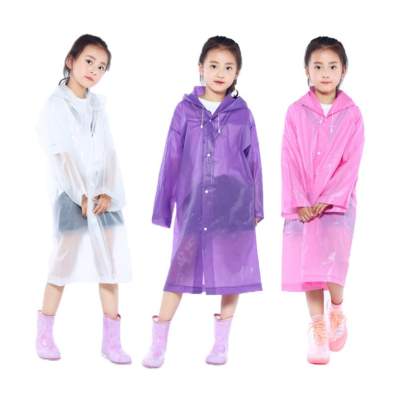 Raincoat kids of Transparent Waterproof Hooded EVA Rain Poncho for kid in Outside Hiking Rainwear Uniform code kids RainCoat