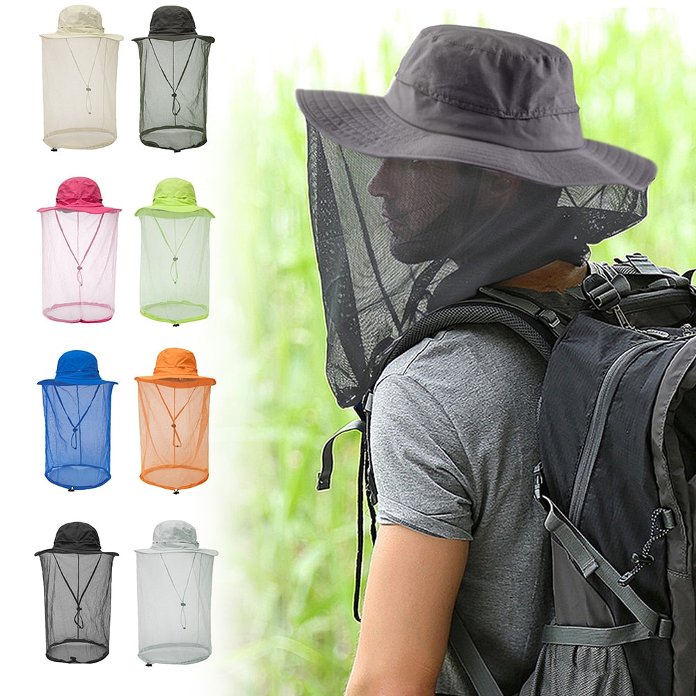 Outdoor Mosquito Head Net with Hidden Mesh Protection Bugs Bees for Hiking Fishing Face Protector Sun Hat Anti Mosquito Dropship